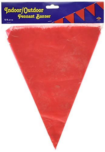 (Beistle Indoor/Outdoor Pennant Banner, 10-Inch by 12-Feet, Red)