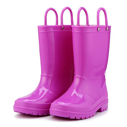KomForme Kids Rain Boots, Environmental Material Boots with Memory Foam Insole and Easy-on Handles Purple
