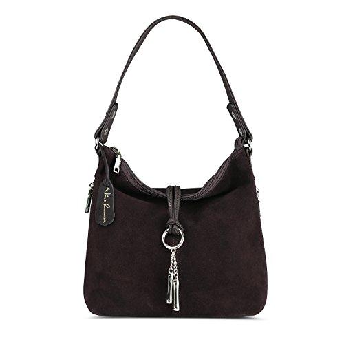 Nico Louise Women Split Real Leather Shoulder Bag Female Suede Crossbody handbag Casual Lady Messenger Hobo Top-handle Bags (Coffee)