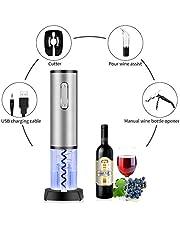 Sacacorchos, TOQIBO Sacacorchos Eléctrico Profesional, Abridor de Botellas Con Cortador de Cápsulas y Vertedor de Vino - Recargable