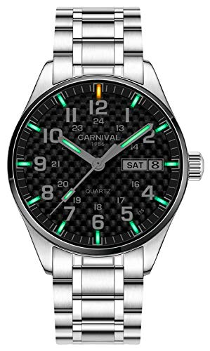 Men's Luminous Tritium Watch Waterproof Sapphire Glass Stainless Steel Calendar Quartz Military Watches (Black/Green Light)