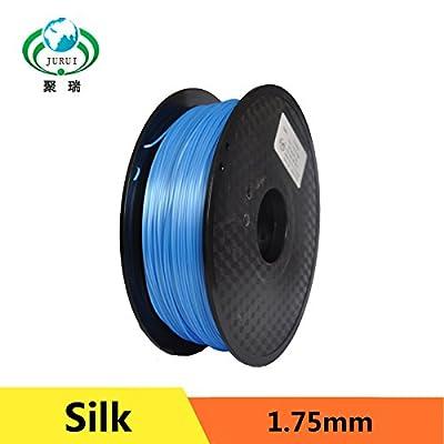 JURUI 3D Printing Filament Silk PLA 1kg 1.75 Silk Blue 3D Printer Filament, Dimensional Accuracy +/- 0.05 mm, 1 kg Spool(2.2 lbs), 1.75mm