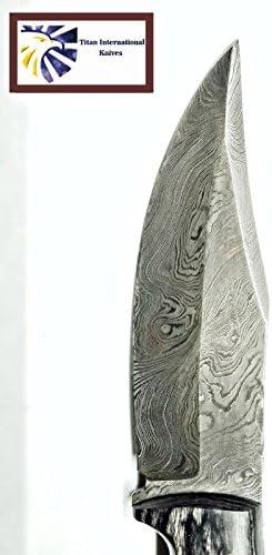 Titan International Knives Damascus Steel Hunting Knife
