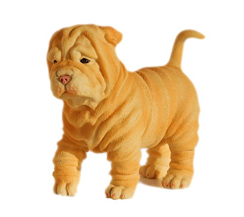 (4.75 Inch Shar Pei Puppy Decorative Statue Figurine, Tan and White)