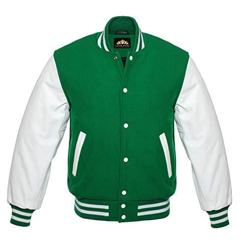 5 Star Letterman Baseball School College Bomber Fashion Varsity Jacket Green Wool & White Genuine Leather Sleeves (4XL)