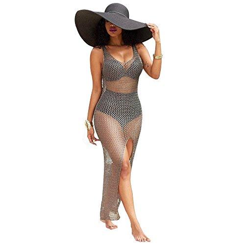 SKY Celebrate for the Summer !!!Mujeres Mujeres Crochet Hollow Out Beach Bikini cubrir traje de baño Bañarse Traje de baño Caqui