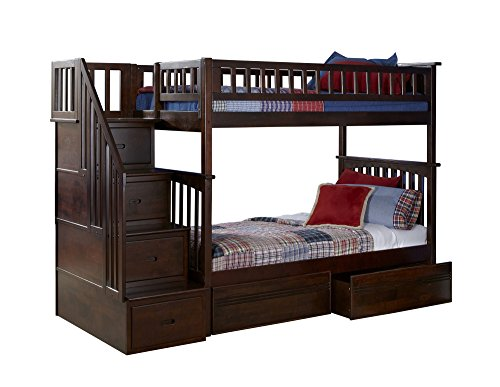 Antique Walnut Bunk Bed (Columbia Staircase Bunk Bed with 2 Flat Panel Bed Drawers, Twin Over Twin, Antique Walnut)
