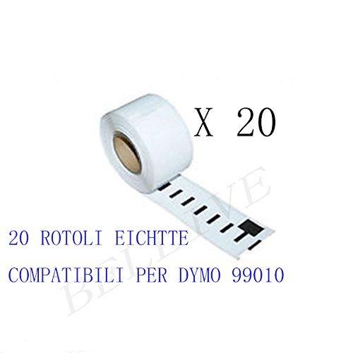 450//450 Duo 450 Turbo Twin Turbo 450 Twin Turbo//DUO//SE 450 450 Series 20 ROTOLI Etichette Compatibile per DYMO 99010 S0722370 89mm X 28mm LABELWRITER 400 Twin Turbo