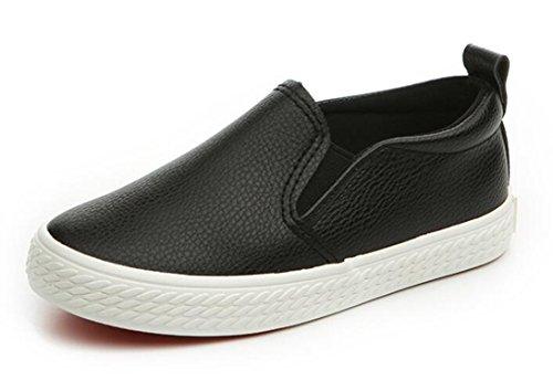 Bumud Boy's Girl's Slip-on Loafers Oxford Shoes(Toddler/Little Kid) (10 M US Toddler, Black)]()