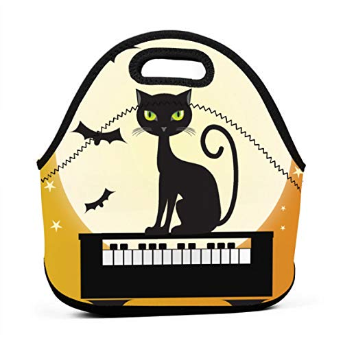 LKJDAD Halloween Piano Cat Lunch Bag, Thick Insulated Lunchbox Bags,Tote Box with Zipper Closure for Kid Travel Picnic Office