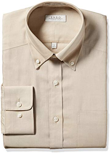 Enro Men's Newton Solid Pinpoint Non-Iron Classic Fit Dress Shirt, Khaki, 165 x 34/35 -