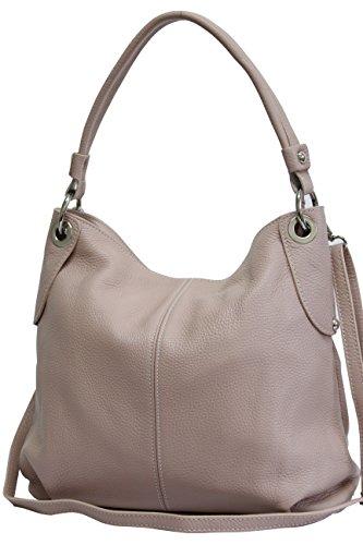 AMBRA Moda Sac à main femme Sac à bandoulière sac à bandoulière sac fourre-tout cuir véritable GL012 Vieux Rose