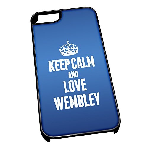 Nero cover per iPhone 5/5S, blu 0696 Keep Calm and Love Wembley