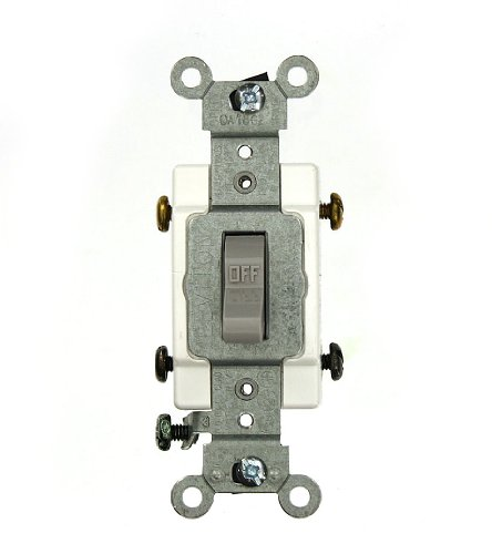Leviton CSB2-20G 20 Amp, 120/277 Volt, Toggle Double-Pole AC Quiet Switch, Commercial Grade, Grounding, Gray by Leviton