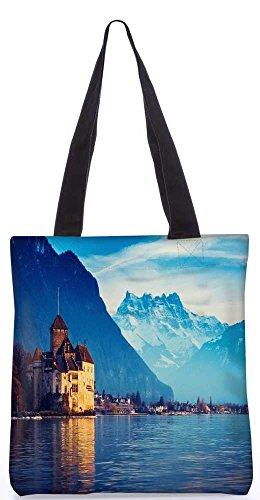 """Snoogg Genfer See Tragetasche 13,5 X 15 In """"Einkaufstasche Dienstprogramm Trage Von Polyester Canvas"""