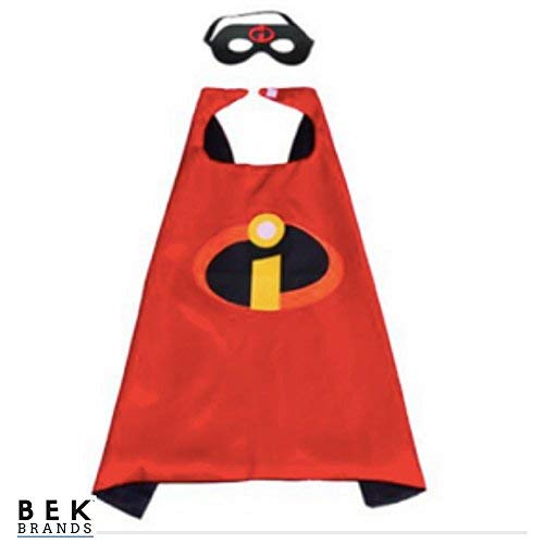 Bek Brands The Incredibles Superhero Cape and Mask Set | Dress up Satin Cape and Felt Mask, Costume for Kids Party ()