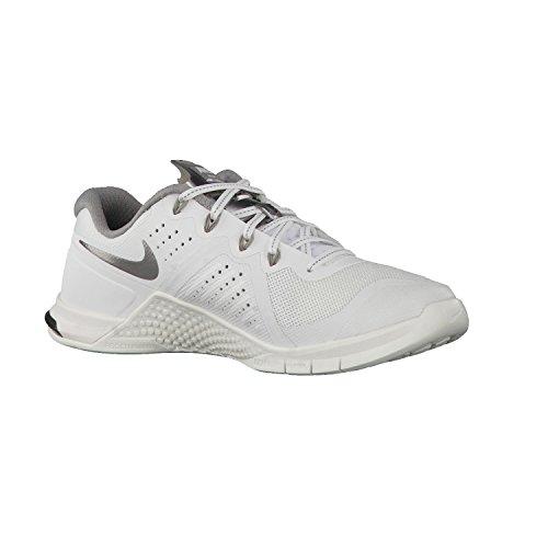 Nike Dames Metcon 2 Summit Wit / Metallic Tinnen Nylon Hardloopschoenen 9 M Us