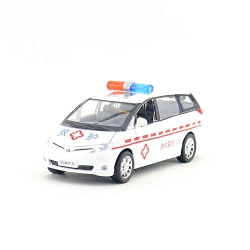 (GreenSun 1:32 Scale/Toyota PREVIA Ambulance SUV Car/Pull Back/Sound & Light/Educational Collection/Gift)