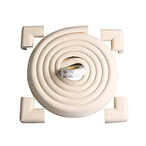 Tritina Corner Guards and Edge Bumpers - 2.2m / 7ft [ 6.5ft Edge Cushion + 4 Corner Cushion] Premium Childproofing Protector, Child Safety, Home Safety Mamami (Milk White)
