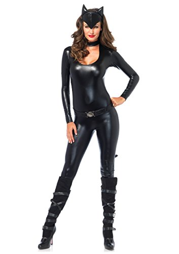 [Leg Avenue Women's 3 Piece Frisky Feline Catsuit Costume, Black, Medium] (Black Bodysuit Costume)