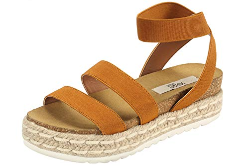 - Sofree Women's Ankle Elastic Strap Flat Wedge Espadrilles Heel Sandals Camel