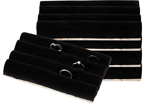 Ring Pads - 5-Pack Velvet Ring Display Trays, Ring Box Insert, Holder, Case, Ring Foam, for Jewelry Accessories Storage, Show, Retail, Shop, Home, Counter Top, 3 Slots, Black, 5.5 x 3.3 x 0.78 Inches