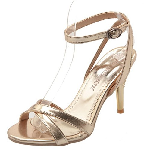 WeenFashion Women's Buckle Pu Open-Toe High-Heels Solid Sandals, CA18LA03511, Gold, 33 ()