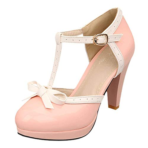 - Susanny Women's Chic Sweet Round Toe T-Strap Bows Adorable Buckle High Cone Heel Mary Janes Dress Pink6 Pumps 7 B (M) US