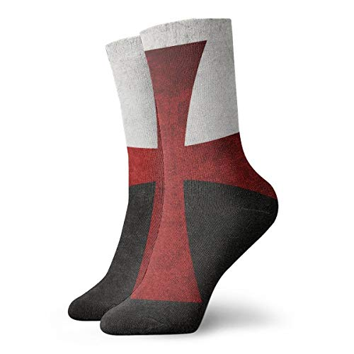 Iron Boards Cross Running - Black and White Flag with Red Iron Cross The Beast Fitness Novelty Crew Athletic Socks Calf High Sock