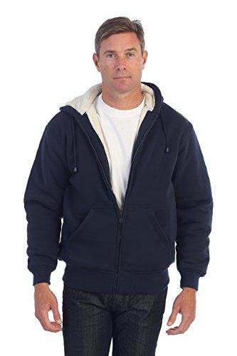 (Gioberti Men and Women Sherpa Lined Fleece Hoodie Jacket, Navy, Small)