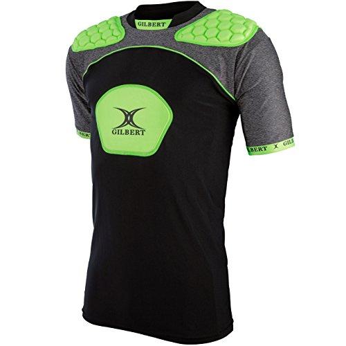 - Gilbert Atomic V3 Body Armour Rugby Vest - Adult - Black/Volt - M
