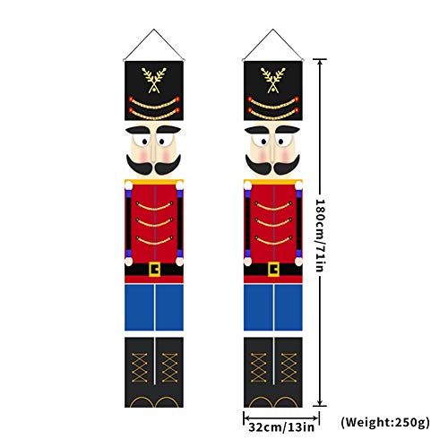 Blaward Nutcracker Christmas Banners Decorations - Outdoor Xmas Decor - Life Size Soldier Model Nutcracker Banners for Wall Front Door Porch Garden Indoor Exterior Party Yard Gate