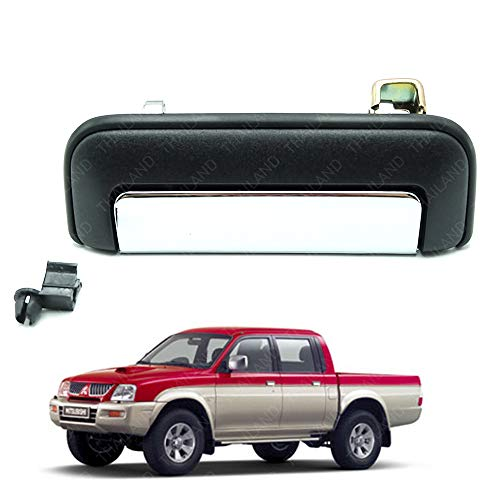 Powerwarauto Rear Tailgate Handle Set Black And Chrome For Mitsubishi Mk Strada L200 Triton UTE Pick-Up 1996 1997 1998 1999 2000 2001 2002 2003 2004 2005