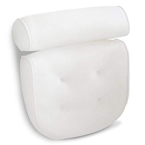 Viventive Luxury Spa Bath Pillow with Head, Neck, Shoulder and Back Support. Non-Slip, Extra Thick, Soft and Large 14x13in for The Ultimate Relaxation Experience. Fits Any tub
