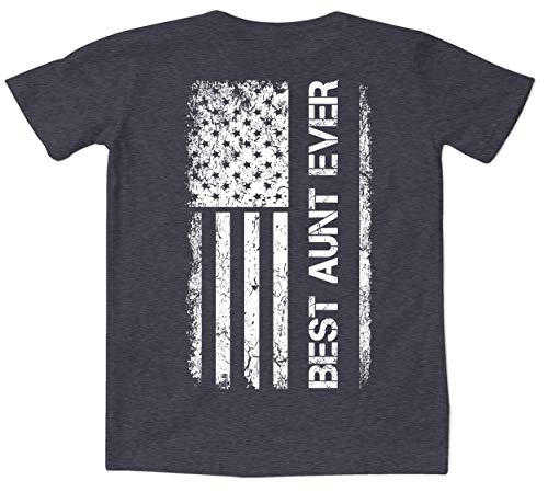 Mother's Day American Flag - Best Aunt Ever Women's Curvy T-Shirt (Charcoal Heather - Back Print, 2X (18-20))