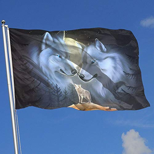 BQCHMBO Wolf And Moon Party Flag,Home Flag,garden Flag,100%
