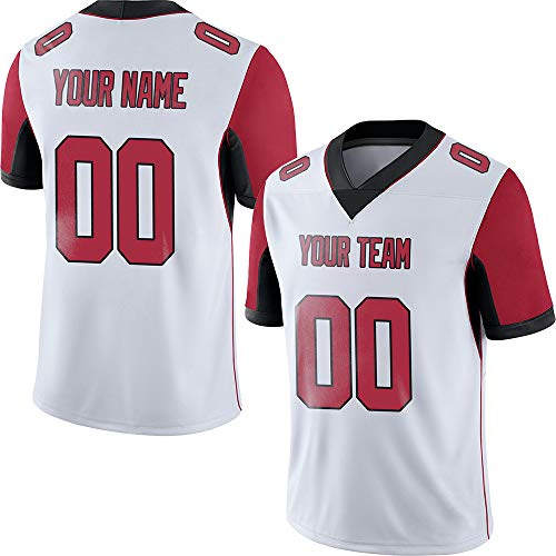 Red Embroidered Football Jersey - White Custom Football Jerseys for Men Embroidered Team Name and Your Numbers Big and Tall Jersey,Red-Black Size 5XL