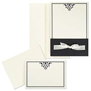 Hortense B. Hewitt Wedding Accessories Print Yourself Invitation Kit, Black and Ivory Ribbon-Tied Wrap, Pack of 25