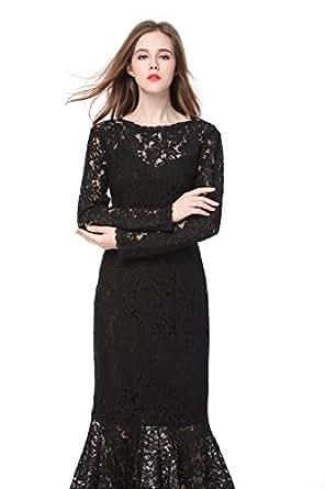 GLOBAL VASION Women's Vintage Maxi Dresses (S, Lace Black
