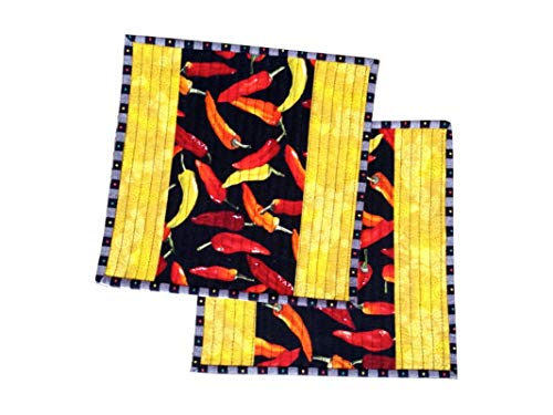 Hot Peppers Handmade Quilted Pot Holders, Insulated, Quilted Hot Pads, Quilted Trivets, Quilted Mug Rugs, Quilted Candle Mats (Set of 2)