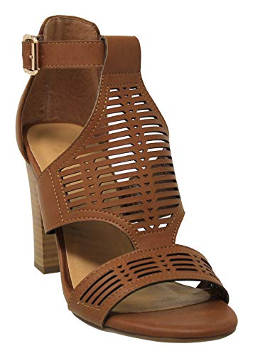 - MVE Shoes Women's Open Toe Cutout Ankle Strap Chunky Heel Sandal, tan nbpu Size 10