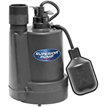 Superior Pump 92250 1/4-Horsepower Thermoplastic Sump Pump with Tethered Float Switch