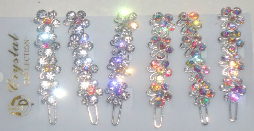 - S305,set of Six Multicolor Sparkling Crystals and Rhinestone Hair Pins for Women and Teens