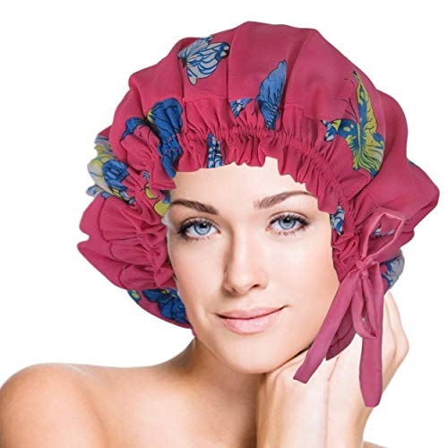 (Silk Sleep Cap- Double Layers Silk Italian Chiffon and Silk Charmeuse Butterfly Pattern Fit Head Size Fits head sizes: 20.5'' - 28.3'' (52-72cm) - Limited Edition)