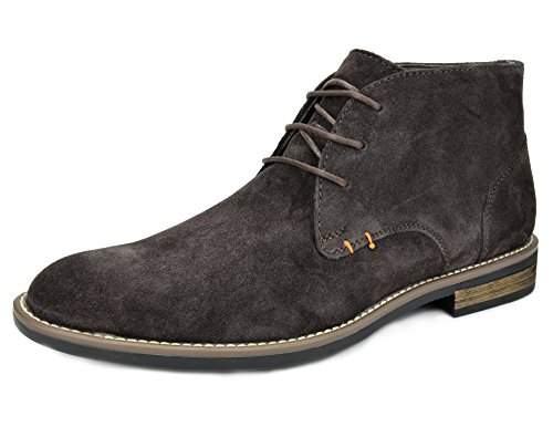 Fire Boot Leather - Bruno Marc Men's URBAN-01 Dark Brown Suede Leather Lace Up Oxfords Desert Boots Size 11 M US
