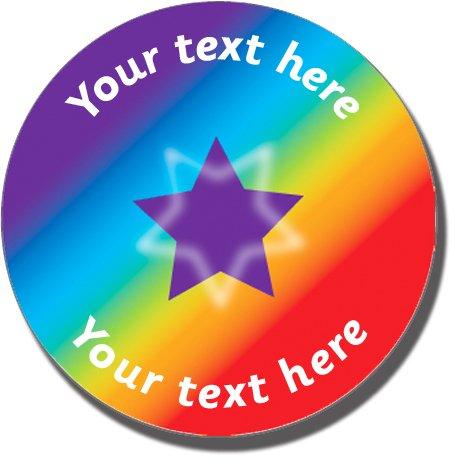 Personalised rainbow spectrum sticker 25 millimetre x 70 primary teaching services