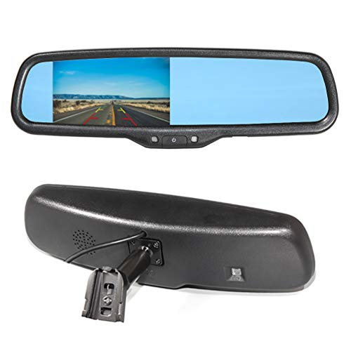 EWAY Car Interior Backup Rear View Anti-Glare Mirror Built in LCD 4.3 Monitor Replacement with Bracket Auto Safety Driving Security w/o Compass- Fits Ford F150/250/350 Toyota Tacoma Corolla ect.
