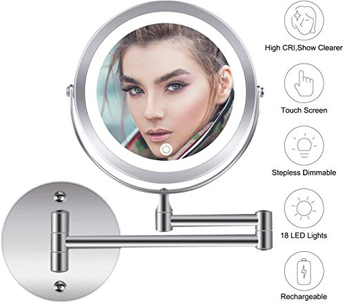 Wall Mounted Makeup Mirror, 1X 10X Magnification 360 Degree Rotation Double Sided Led Lighted Vanity Mirrors for Bathroom AC Adapter or Battery Operated