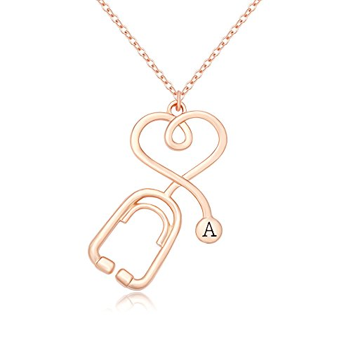 MANZHEN Rose Gold Medicine Stethoscope Heart Necklace Initial Necklace for Doctor Nurse (A)