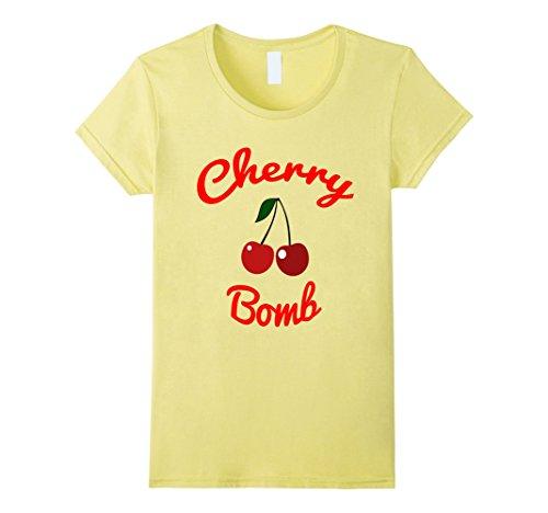 Womens Retro 70s Cherry Bomb Vintage Style Cute T-Shirt Medium Lemon